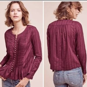 Maeve Gelise Button Pleated Pintuck Maroon Blouse